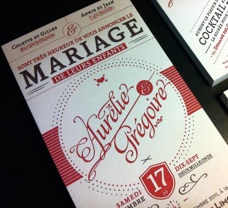 Faire Part Mariage Letterpress Lighteam