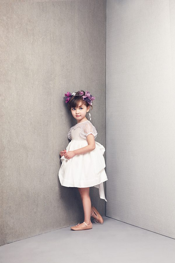 merrisa dress in White , jessie headband in Deep purple