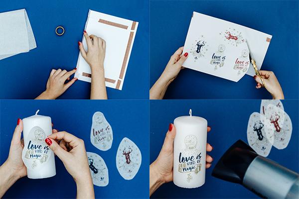 une technique magique pour imprimer sur des bougies blog mariage mariage original pacs d co. Black Bedroom Furniture Sets. Home Design Ideas